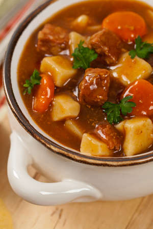 slow cooker: Homemade Slow Cooker Beef Stew. Selective focus. Stock Photo
