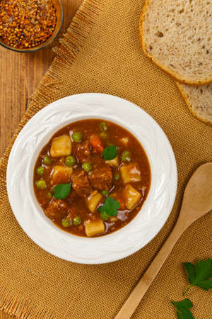 Beef Stew with Potatoes and Carrots. Selective focus. Stock Photo