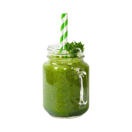 Green Smoothie Isolated on white. Selective focus.