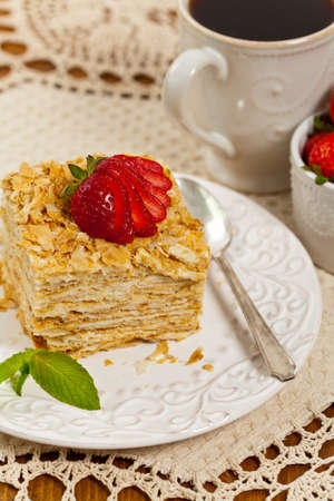 custard slices: Puff Pastry flaky pastry layers Cake. Selective focus.
