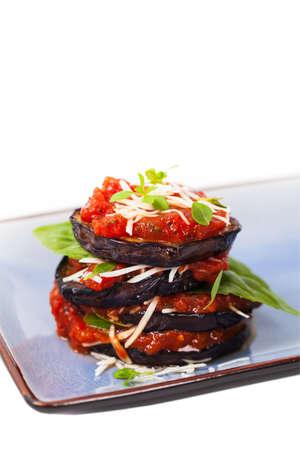 layered: Layered Italian Eggplant. Selective focus. Stock Photo
