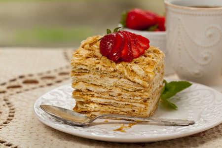 napoleon: Puff Pastry Napoleon Cake. Selective focus.