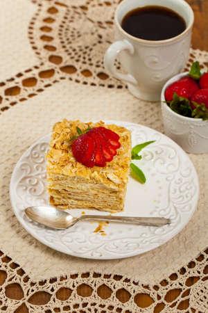 custard slices: Puff Pastry Napoleon Cake. Selective focus.