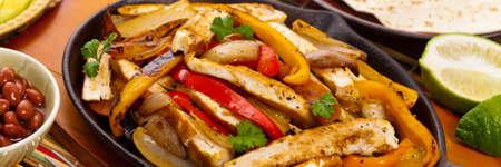 Chicken Fajitas. Selective focus. Stock Photo
