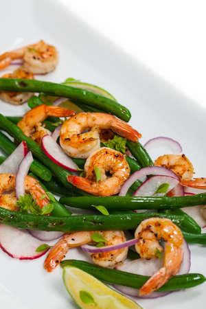 green bean: Green Bean Salad with Shrimp. Selective focus.
