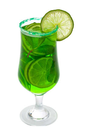 sweet vermouth: Lime and Mint, Green Vodka Drink Isolated on white background. Selective focus.
