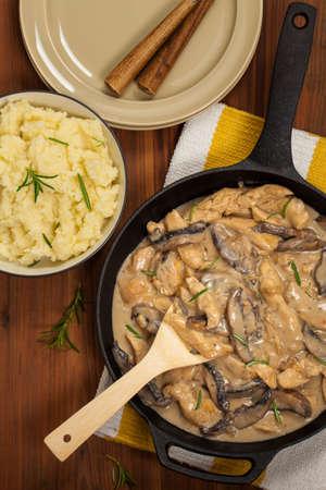 beef stroganoff: Chicken Stroganoff a variation on Beef Stroganoff. Selective focus.