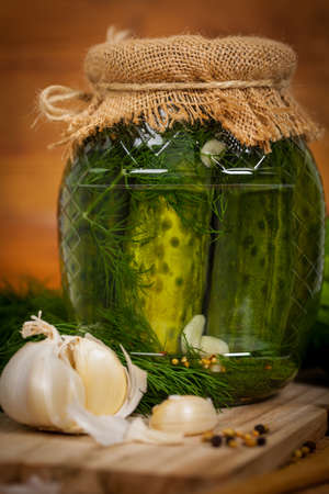 pickling: Dill Pickled Cucumbers. Selective focus. Stock Photo