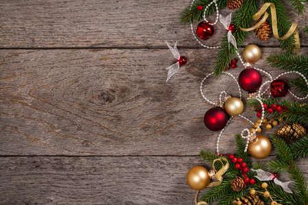 gold ornaments: Christmas Decoration Theme Background. Selective focus.