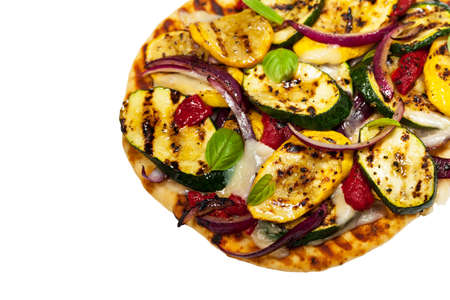 Grilled Vegetable Flatbread Pizza Isolated on White Background. Selective focus. Stock Photo