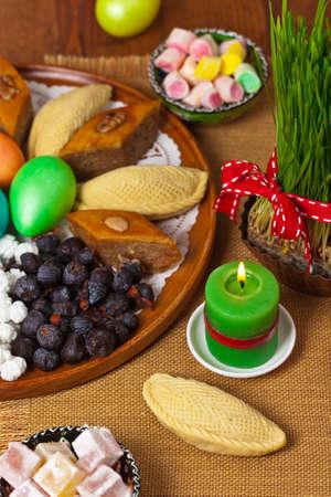 baku: Colored eggs, wheat springs Nowruz Holiday in Azerbaijan. Selective focus.