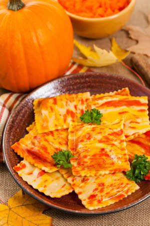 Roasted Pumpkin Gourmet Pasta Main Dish. Selective focus. Reklamní fotografie - 72220061