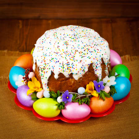 Russian and Ukrainian Traditional Easter Cake - Kulich, Paska Easter Bread. Selective focus. Stock Photo