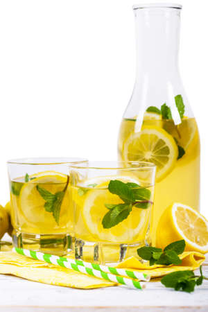 Lemonade Summer Drinks Isolated on White background. Selective focus.