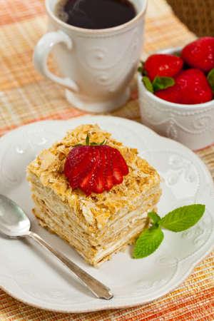 Puff Pastry Napoleon Cake. Selective focus.