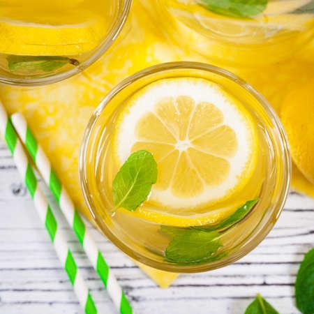 Lemonade Lemon Drink. Selective focus.