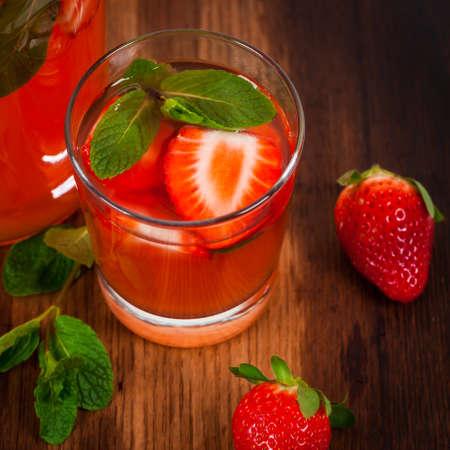 Strawberry Lemonade Summer Drink. Selective focus.