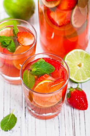 Strawberry Lemon Lime Lemonade Summer Drink. Selective focus.