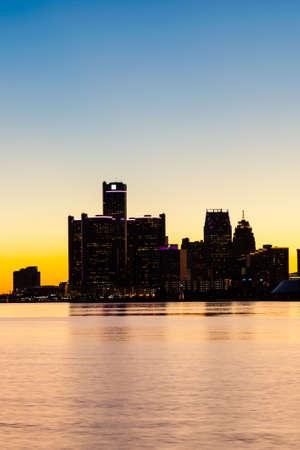 Sunset at Detroit River. General Motors Headquarters in Downtown Detroit, Michigan. Selective and soft focus. Reklamní fotografie