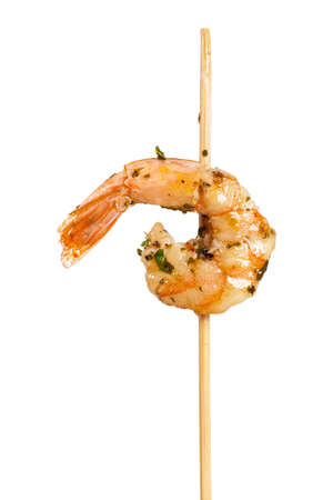 marinade: Grilled Shrimp Skewers Appetizer Isolated on White background. Selective focus. Stock Photo