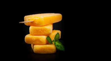 Pineapple Frozen Fruit Bars Popsicles. Selective focus.