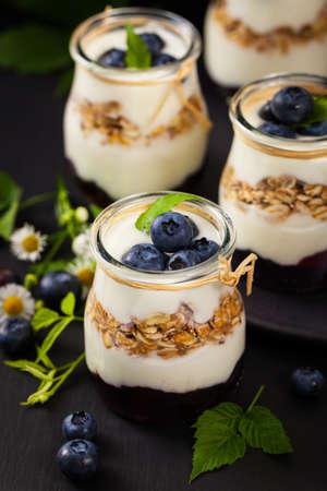 Yogurt with Blueberries and Granola Parfait. Selective focus.