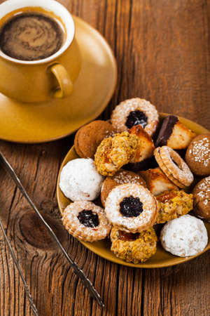 Homemade European Bakery Style Cookies Variety Flavors. Selective focus. Stock Photo