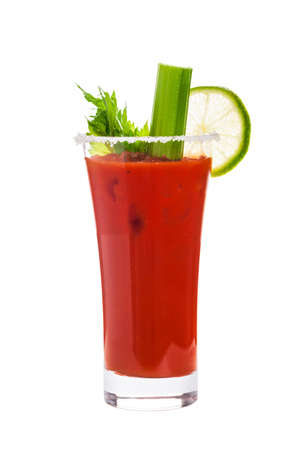 Bloody Mary Cocktail Isolated on white background. Selective focus. Stock Photo