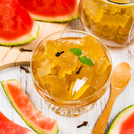 Watermelon Rind Jam Or Candied Watermelon Crusts In Syrup. Azerbaijani Cuisine. Selective focus.