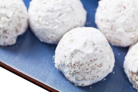 Christmas Pecan Snowballs Cookie Balls. Selective focus. Stockfoto