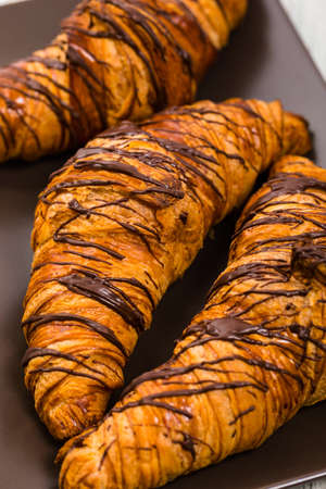 Chocolate Croissants for Breakfast. Selective focus. 写真素材
