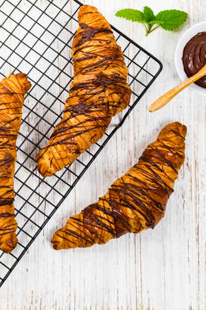 Chocolate Croissants for Breakfast. Selective focus. 免版税图像
