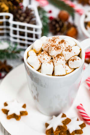 Christmas and New Year Background Breakfast with Croissants and Hot Cocoa with Marshmallows. Selective focus. Imagens