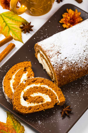 Pumpkin Cake with Cream Cheese Filling. Autumn Baking. Selective focus.