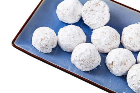 Christmas Pecan Snowballs Cookie Balls Isolated on White Background. Selective focus. Stockfoto