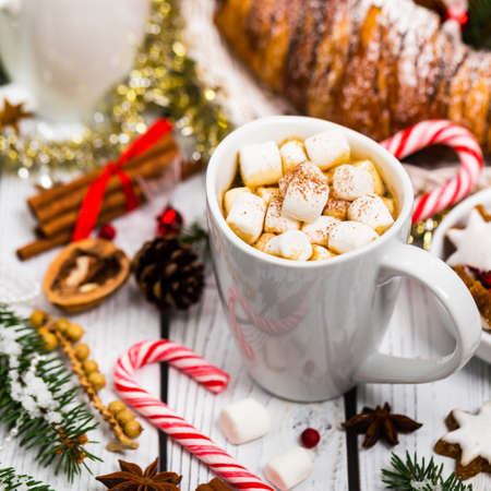 Hot Cocoa with Marshmallows. Christmas and New Year Background. Selective focus.