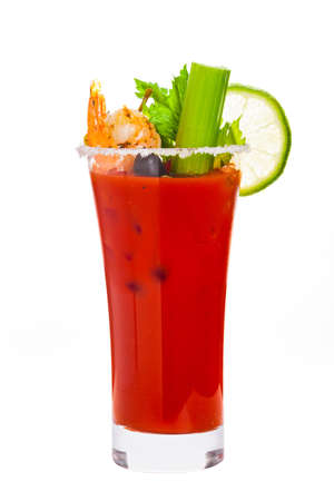 Bloody Mary Cocktail Isolated on white background. Selective focus. Stockfoto