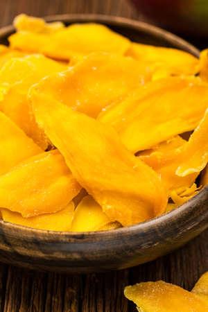 Dried Mango Fruit. Selective focus. Stock Photo