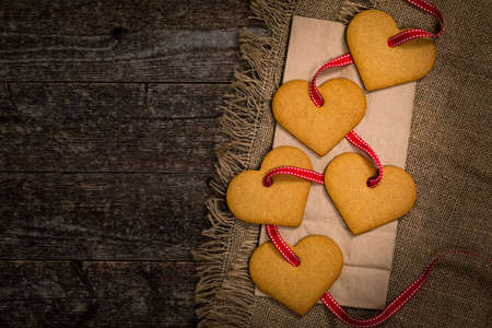 Valentines Day Heart Shaped Cookies on Wooden Background. Valentines Day Background. Selective focus.