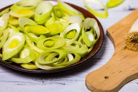 Leek Green Onion on Wooden Background. Selective focus. 写真素材 - 129531814