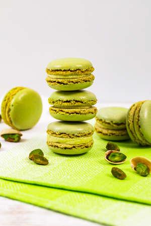 Green Pistachio Macaron Cookies. Selective focus.