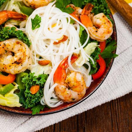 Vietnamese Shrimp and Rice Noodle Salad. Selective focus.
