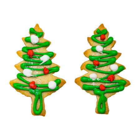 Christmas Tree Cookies Isolated on a White Background. Selective focus.