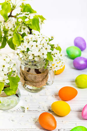 Spring Blossoms with Decorative Easter Eggs. Easter theme. Selective focus.