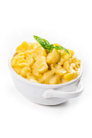 Parmesan Macaroni and Cheese or Mac and Cheese on White Background. Selective focus.