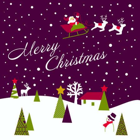 twirled: Cartolina di Natale retr� Vettoriali