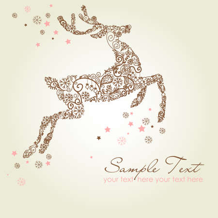 Christmas deer, Vintage vector illustration