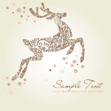 xmas linework: Christmas deer, Vintage vector illustration