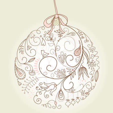 Beautiful Christmas ball illustration. Christmas Card Stock Vector - 10796760
