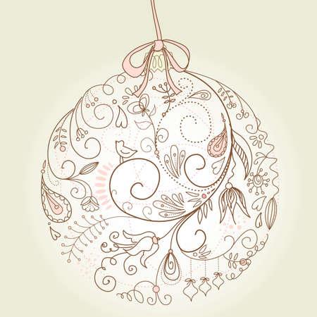 christmas postcard: Beautiful Christmas ball illustration. Christmas Card Illustration